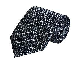 Navaksha Black Micro Fiber Lines Dsign Tie