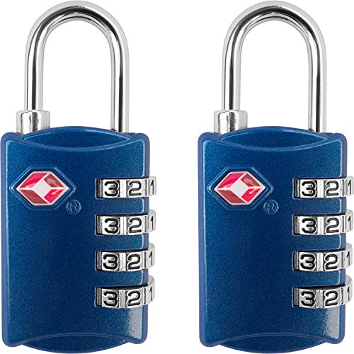 TSA Luggage Locks (2 Pack) – 4 Digit Combination Steel Padlocks – Approved Travel Lock for Suitcases & Baggage – Blue