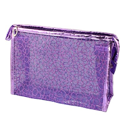 Best Cheap Deal for Rosallini Purple PU Plastic Glittery Mesh Zipper Makeup Cosmetic Bag for Lady Girls by Rosallini - Free 2 Day Shipping Available