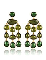 Estelle Gold Plated Dangling Earring With Green Color (520/706)