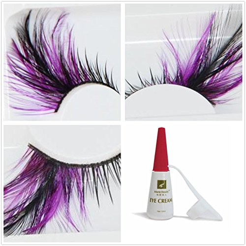 Beauty II Girl Fancy Dress Dance Party Makeup Colored Feather False Eyelashes Eye Lashes Thick Extra Long Cosplay Christmas Halloween Costume Queen Holiday Fun Fake Eyelashes with Glue (Purple Black) (False Eyelashes Extra Long compare prices)