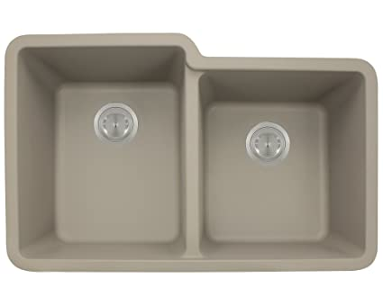 MR Direct 801 Slate TruGranite Double Offset Bowl Kitchen Sink