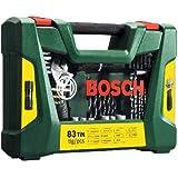 Bosch 83-teiliges V-Line Titanium-Set zum Bohren und Schrauben, inkl. Rollgabelschlüssel, 2607017193