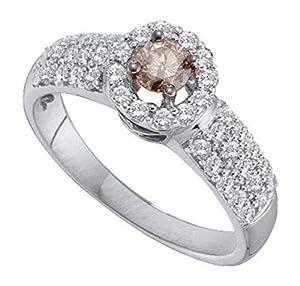 0.76 cttw 14k White Gold Cognac Brown Diamond Halo Engagement Ring, 6mm (Sizes 5-11)