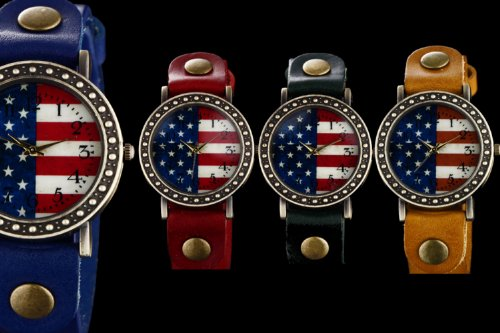 Youyoupifa Ladies Polka Dot Side United States Flag Green Leather Strap Quartz Watch