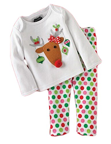 Baby Girls Christmas Reindeer Long Sleeve Cotton Shirt+ Dots Pants Set