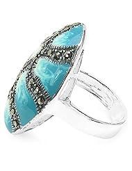 7.90 Grams Marcasite .925 Sterling Silver Blue & White Enamel Ring