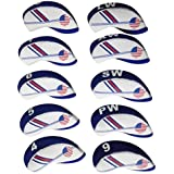 Segolike 10 Pieces White & Blue Neoprene Golf Club Iron Head Cover Headcover
