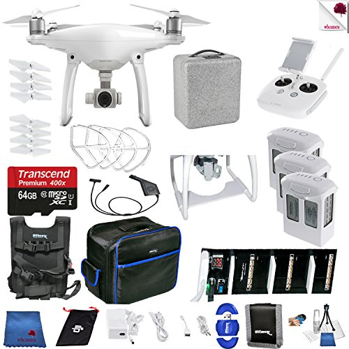 DJI Phantom 4 Ready For Action Bundle Includes: DJI Phantom 4 Drone + 3 Batteries (total) + Carry Vest + 64 GB Memory Card + Controller + Foam Case + More