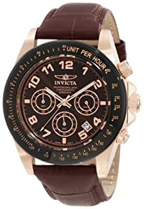 """Invicta Men's 10712 """"Speedway"""" Gold Ion-Plated Stainless Steel Watch with Leather Band"""