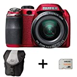 Fujifilm FinePix S4200 Red + Case and 32GB Memory Card (14MP, 24x Optical Zoom) 3 inch LCD Screen