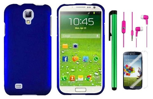 Samsung Galaxy S4 I9500 Accessory Combination - Premium Plain Color Protector Hard Cover Case / Screen Protector Film / 1 Random Color Handsfree Headset 3.5Mm Stereo Earphones / 1 Of New Metal Stylus Touch Screen Pen (Metallic Blue)