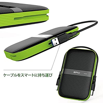 1TB Silicon Power Armor A60 Shockproof Portable Hard Drive - USB3.0 - Black/Green Edition