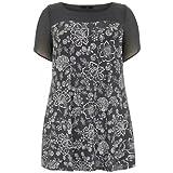 Evans Ladies Floral Jersey Tunic (Grey) (22-24)
