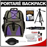 Portare Multi-Use Laptop/iPad/Digital SLR Camera Backpack Case (Gray/Purple) with 57