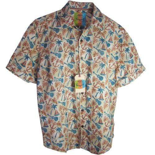 Margaritaville Men'S Short Sleeve Guitars BBQ Shirt, Cream, Large