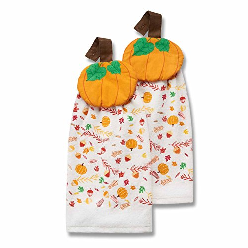 Harvest Season Set of 2 Printed Tie Top Fall Kitchen Towels - Harvest Pumpkin (Tie On Dish Towels compare prices)