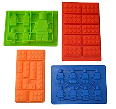 E-shop Silicone Bricks and Minifigure Molds for Building Bricks Lovers - Set of 4 Silicone Molds - For Ice Cube, Chocolate, Candy, Candle, Jello, Crayon, Clay Making