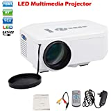 LEMONBEST Portable HDMI Mini HD Home LED Projector Pocket Beam Projector 1080P for Home Cinema 640*480