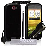 Yousave Accessories TM HTC ONE S Noir Silicone Gel Etui Coque Avec Stylet Pen Chargeur De Voiture Et Tissu De Polissage Micro Fibrepar Yousave Accessories