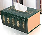 Europe Style Book Leather Tissue Box Dispenser Case Napkin Holder Home Decor (Colour: Green, Size: Large)