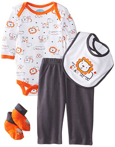 Bon Bebe Baby-Boys Newborn Hear Me Roar Bodysuit Bib Booties And Pant Set, Multi, 6-9 Months front-1079680