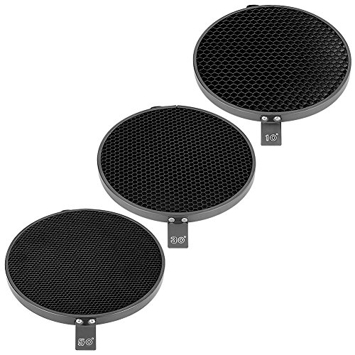Neewer® 7inch/ 18cm Standard Reflector Diffuser with 10/30/50 Degree Honeycomb Grid for Bowens Mount Studio Light Strobe Flash