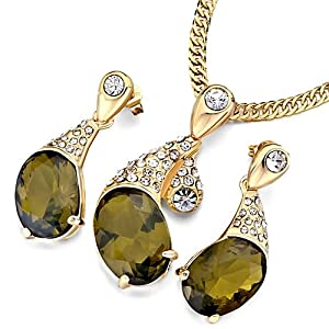 Pugster Gold Petal Clear Crystal Olivine Rhinestone Oval Pendant Earrings Set