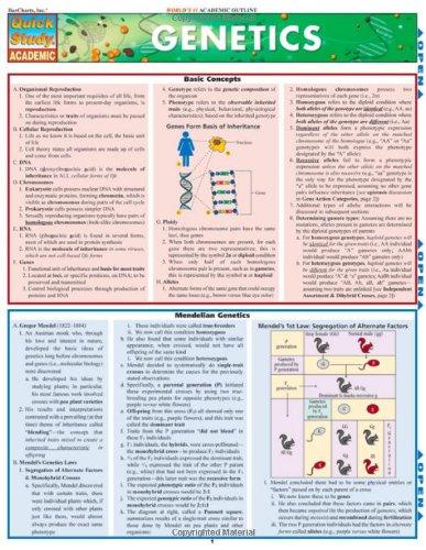Genetics Laminate Reference Chart (Quick Study Academic)