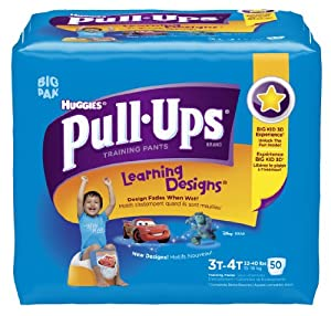 Huggies Pull-Ups Learning Design Training Pants, Size 3T-4T, Boy, 50 Count (Pack of 2)