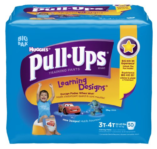 Huggies Pull-Ups Learning Design Training Pants, Size 3T-4T, Boy, 50 Count (Pack of 2) - 1