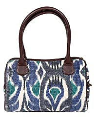 Trendy Cotton Ikat Hand Bag Off-White Printed For Women By Rajrang