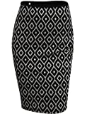 Doublju Pencil Skirt with Unique Pattern in Mid Length