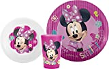 Zak! Designs Mealtime Set with Plate, Bowl and Tumbler featuring Minnie Mouse, Break-resistant and BPA-free plastic, 3 Piece Set
