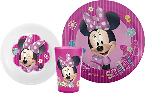 Zak! Designs Mealtime Set with Plate, Bowl and Tumbler featuring Minnie Mouse, Break-resistant and BPA-free plastic, 3 Piece Set - 1