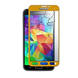 MoArmouz® Super Tempered Glass Screen Protector for Samsung S5 Tempered Glass Screen Protector - Tempered Glass Screen Protector - Scratch Resistant Screen Guard - 9H Hardness Toughened - Mobile Accessories / Screen Protectors / Mobiles & Tablets (Gold)