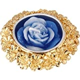 Siri Creations Flower Carving With Gold Polish Silver Plated 1 - Cup Candle Holder