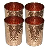 AsiaCraft Pure Copper Hammered Handmade Glass Tumbler, Set Of 4