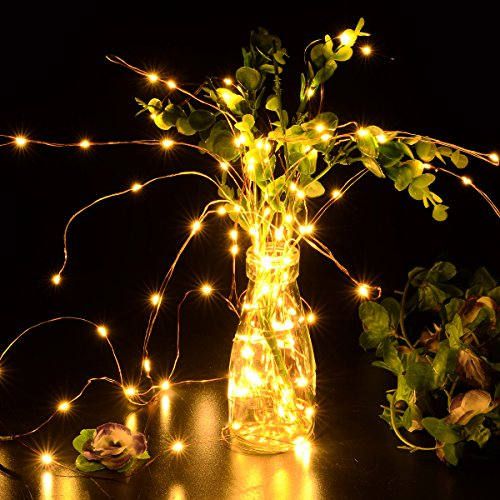 Copper Wire Lights Strings, LTROP 33ft 100 LED Solar Powered Starry String Lights, Waterproof Décor Rope Light for Seasonal Decorative Christmas Holiday, Wedding, Party- Warm White