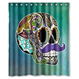 Atnee Unique Funny Purple Mustache Flower Skull Shower Curtain Standard Inch Size 60