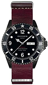 OXYGEN Moby Dick Black 40 unisex quartz Watch with black Dial analogue Display and purple leather Strap EX-D-MBB-40-NL-PL