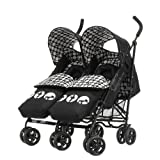 Obaby Apollo V2 Twin Stroller with Footmuffs - Mickey Monochrome