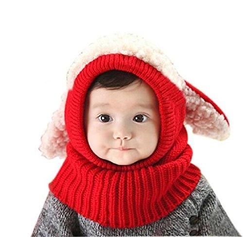 Cappello,SW Ragazzi Ragazze Bambino Inverno Caldo Cappelli Sciarpa Con Cappuccio Lana (Rosso)