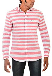 Indipulse Men's Casual Shirt (IF11600612A, Red and White, S)