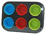 Muffin-Backform 6-er Muffinblech 18 x 26 cm Muffinförmchen aus Silikon