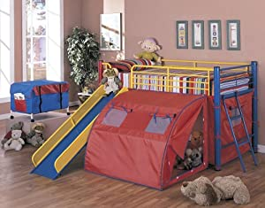 Find Discount Coaster Bunk Bed With Slide And Tent Multicolor Bunk Beds For Boys Beds Bed Frames Giuong