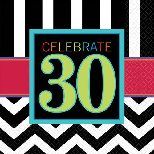 "Amscan Must-Have Beverage Table Napkins with 30th Celebration Theme, Black/White/Red/Cyan Blue/Green, 5""x5"""