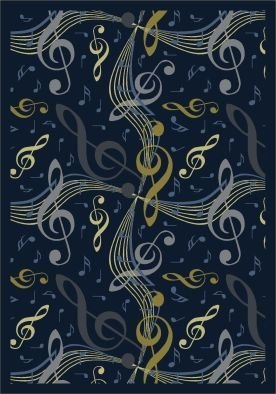 "Joy Carpets Kid Essentials Music & Special Needs Virtuoso Rug, Navy, 7'8"" x 10'9"""