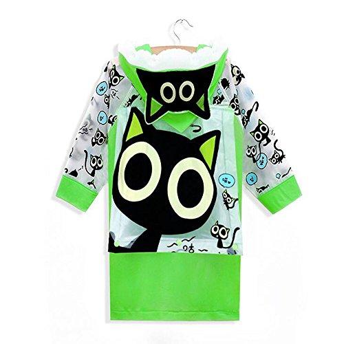 Ezyoutdoor Unisex Kids Green Children Hooded Raincoat Rain Jacket Poncho with School Bag Cover Children Raincoat Cartoon Poncho,Lovely Small Cat (S)