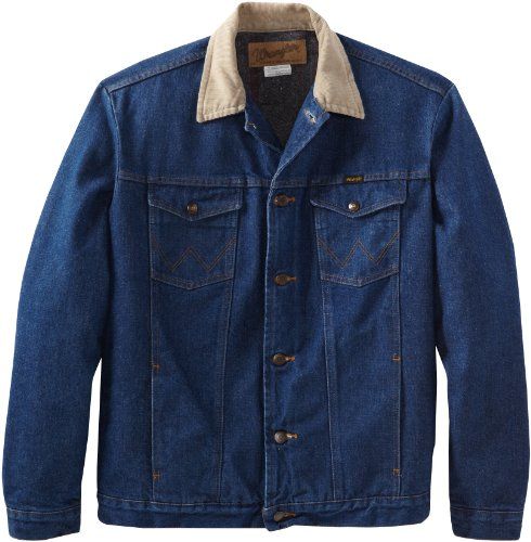 Wrangler Men's Tall And Big Blanket Lined Denim Jacket, Denim/Blaket, 48 Big Tall Denim Jackets